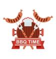 bbq logo grill pan vector image