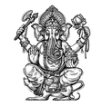 Hand drawn sketch Ganesh vector image