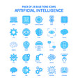 artificial intelligence blue tone icon pack - 25 vector image vector image