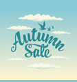 autumn sale design with inscription and blue sky vector image vector image