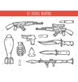 Big doodle set of weapon shells handwork bombs vector image