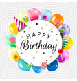 birthday banner with colorful balloons background vector image vector image