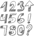 Black numbers on a white background Sketch set vector image