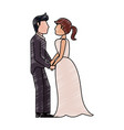bride and fiance cartoon vector image vector image