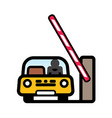 car at open barrier gate vector image vector image