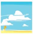 cartoon landscape clouds vector image vector image