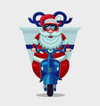 christmas present delivery santa claus riding on vector image vector image