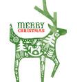 christmas watercolor folk vintage reindeer card vector image vector image