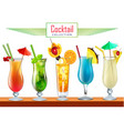 collection various cocktails decorated with vector image