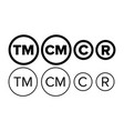 copyright and registered trademark icon set vector image vector image