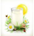cup milk in grass vector image