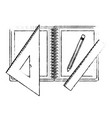 drawing tools and notebook in black blurred vector image vector image