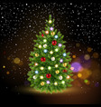festive christmas tree with falling snowflakes vector image