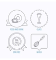 Food and drink glass and whisk icons vector image vector image