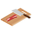 fresh raw beef meat and butcher meat knife on a vector image vector image