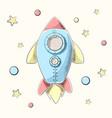 funny cute cartoon rocket vector image vector image