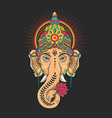 ganesha head mascot colorful vector image vector image