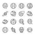 globalization concept outline icons collection vector image
