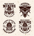 gold digger resource extraction industry emblems vector image vector image