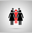 group several woman silhouette with red leader vector image vector image
