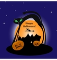 Halloween witch with cat and pumpkins vector image
