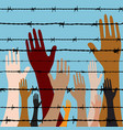 hand behind barbed wire seamless vector image vector image