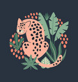 Hand drawn print with cute pink leopard and