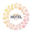 hotel round design template line icon concept vector image vector image