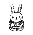 line kawaii cute rabbit head and donuts vector image