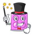 magician toy brick mascot cartoon vector image