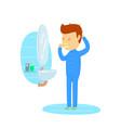 man in pajamas brushing teeth in bathroom young vector image