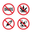 no drugs sign red prohibition signs image vector image vector image