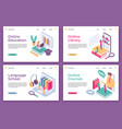 online education landing pages isometric distance vector image