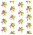 Pink flamingo and tropical plants vector image vector image