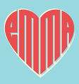 popular female name Emma and heart with vintage vector image