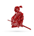 samurai ready to fight action vector image vector image