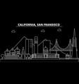 san francisco silhouette skyline usa - san vector image