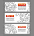 seafood horizontal banners template for your vector image