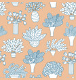 seamless pattern with cute cartoon plants and vector image