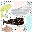 seamless pattern with sea animal fur-sealwhale vector image vector image