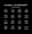 set line icons care and support vector image