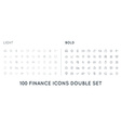 Set of Thin and Bold Finance Money Icons and vector image vector image