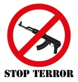 Sign with gun and symbol Stop terrorism vector image vector image