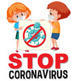 stop coronavirus logo with kid holding vector image vector image