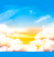 sunset sky background with white transparent vector image vector image