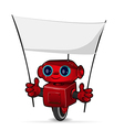 The red robot with a poster vector image vector image