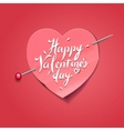 Valentines Day card with paper heart shaped vector image vector image