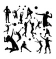 volleyball player silhouettes vector image vector image