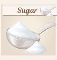 white sugar in metallic spoon cartoon icon vector image vector image