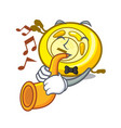 with trumpet cd player mascot cartoon vector image vector image